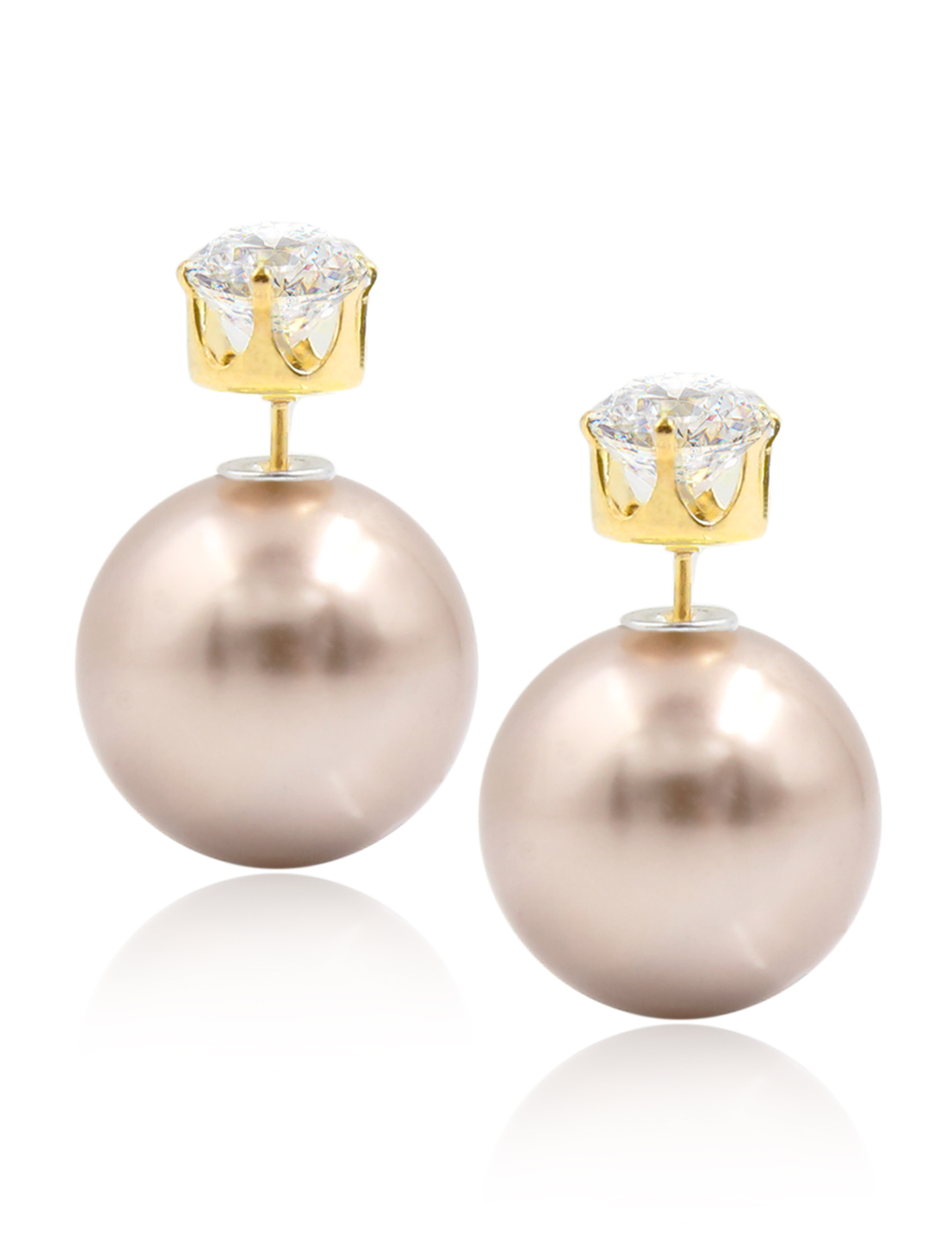 Fashion Women Elegant Double Sides Zircon Ball Earrings Ear Stud 1 Pair Coffee