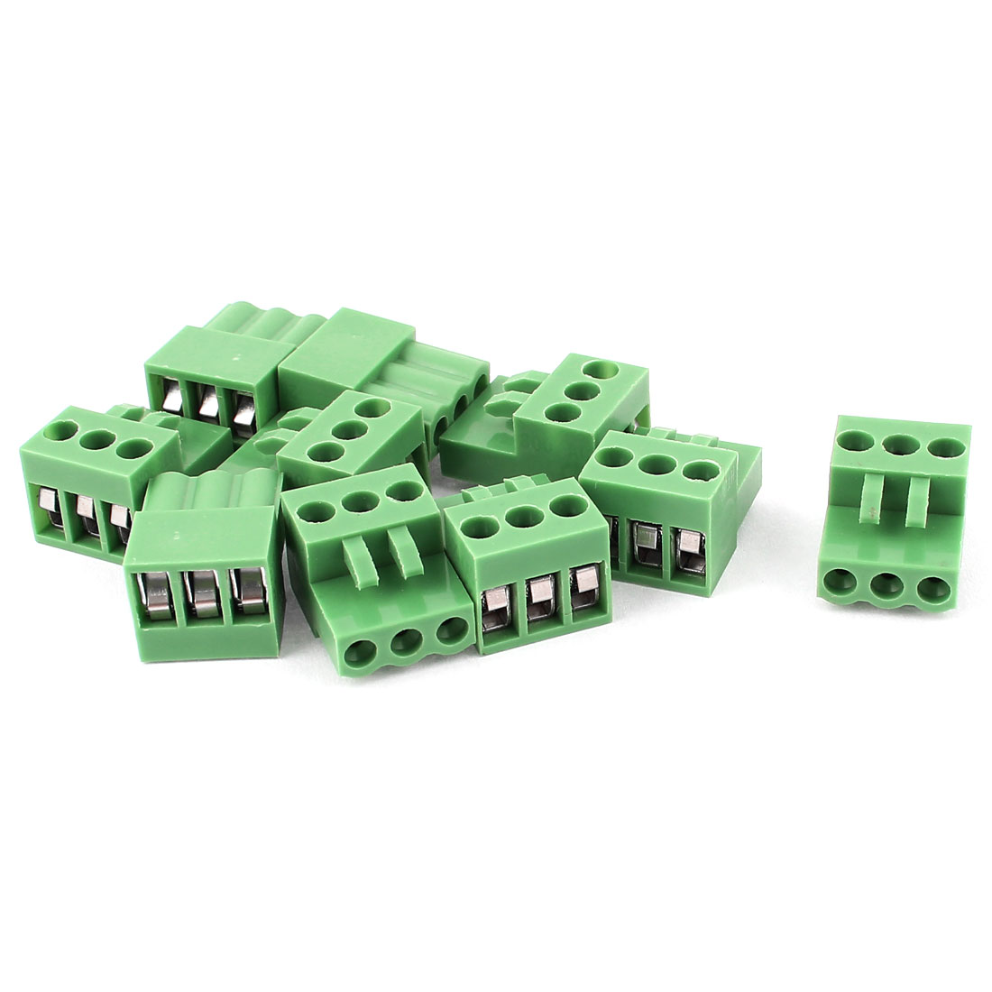 10pcs 3.96mm Pitch 3 Way Straight PCB Terminal Block Connector Green