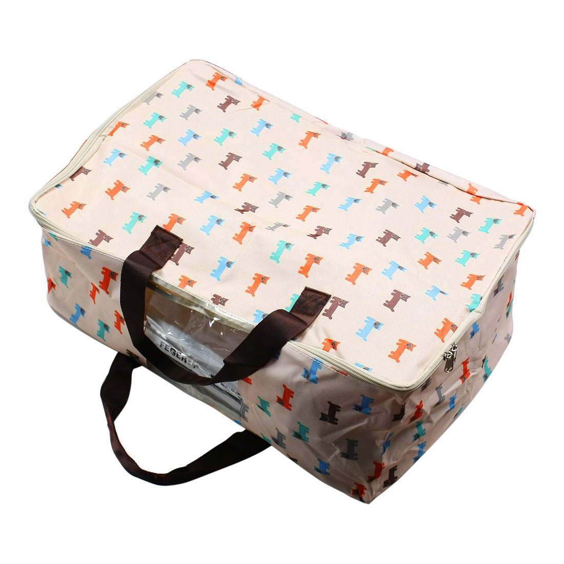 Cartoon Dog Print Folding Zipper Clothes Quilt Duvet Storage Bag Case Container