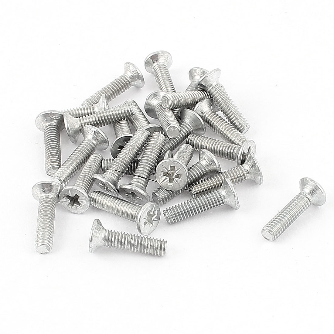 0.7mm Pitch M4 x 13mm Thread Metal Pozi Posi Countersunk Screws Bolts Fasteners 27pcs
