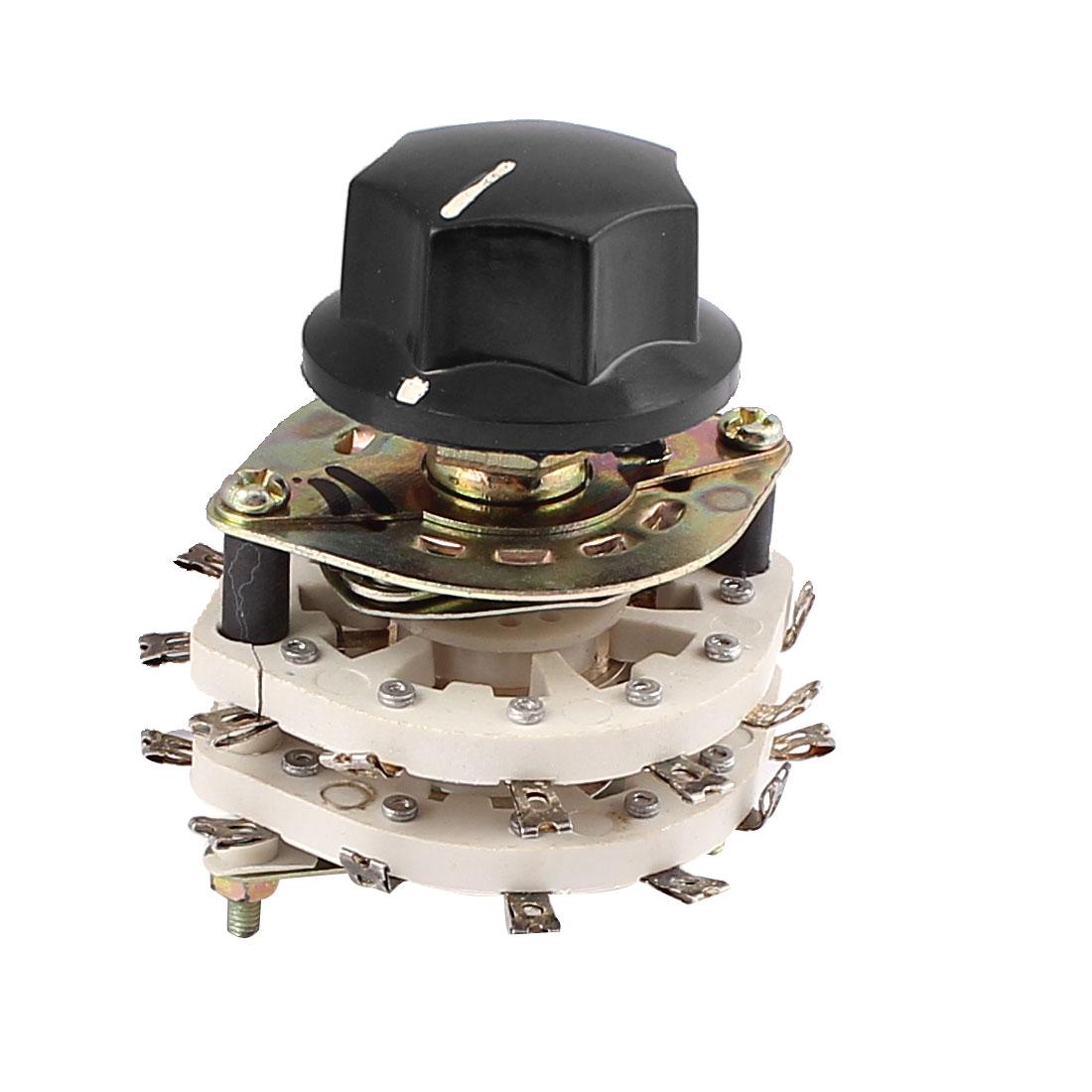 2 Pole 11 Position 2P-11T Ceramic Rotary Switch RF Power w Knob on