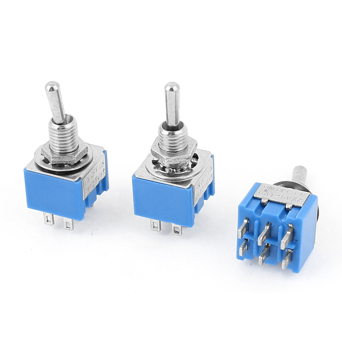 AC 125V 6A DPDT ON-OFF-ON 3 Positions 6 Terminals Latching Toggle Switch 3 Pcs