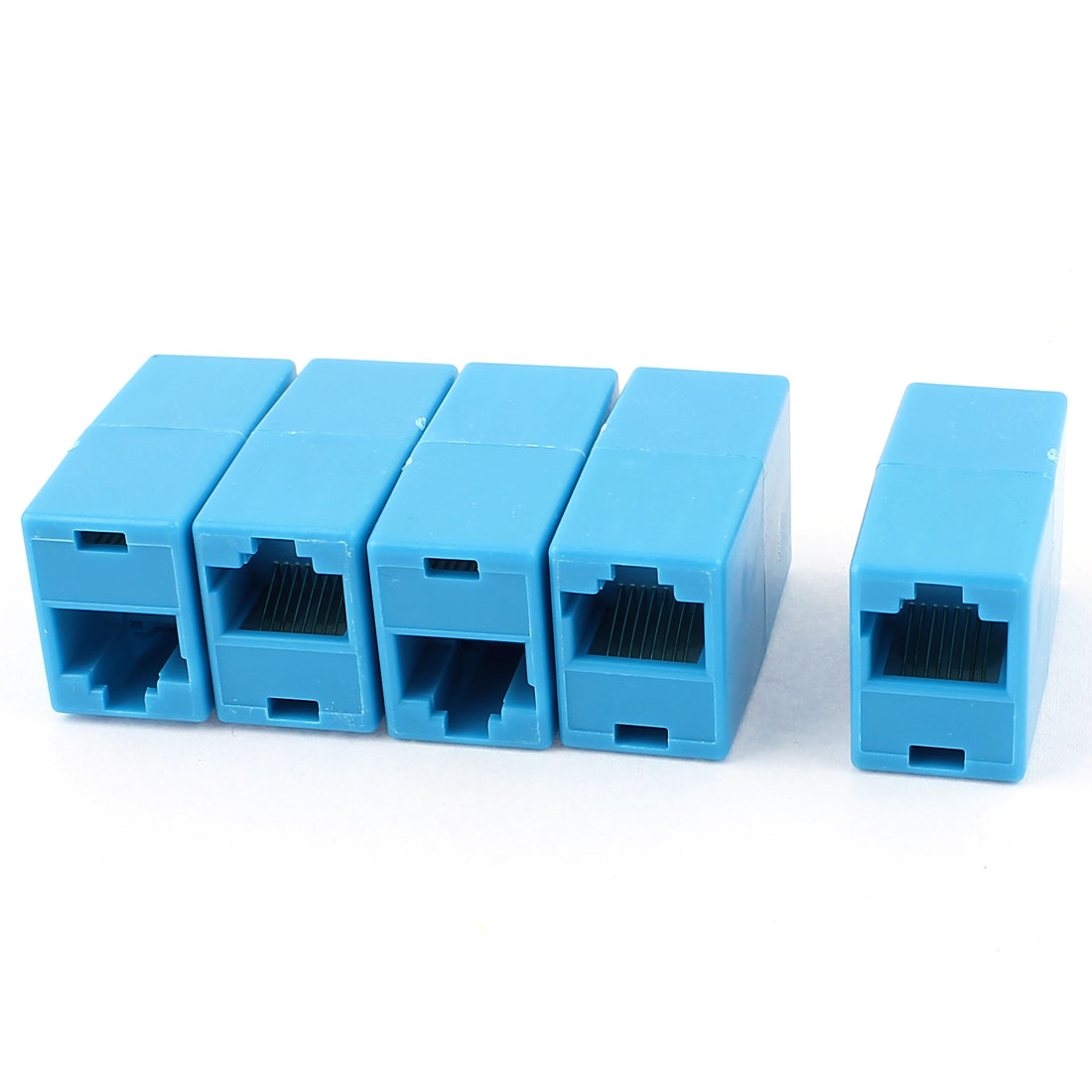 5Pcs RJ45 8P8C F/F Network Cable Connector Extender Coupler Joiner Blue