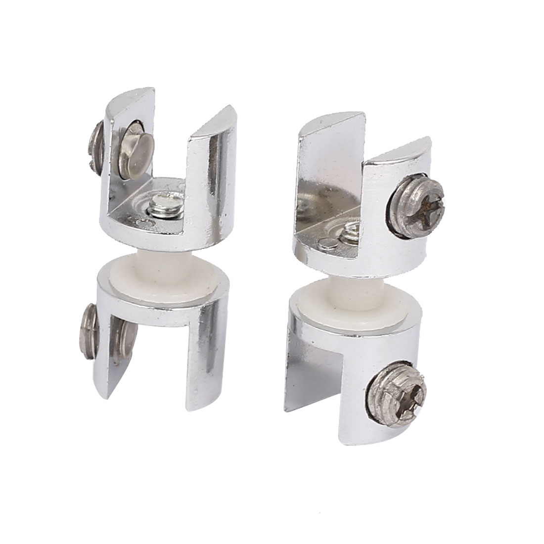 Zinc Alloy 12mm Thickness Window Glass Shelf Clip Clamp Support Bracket 2pcs