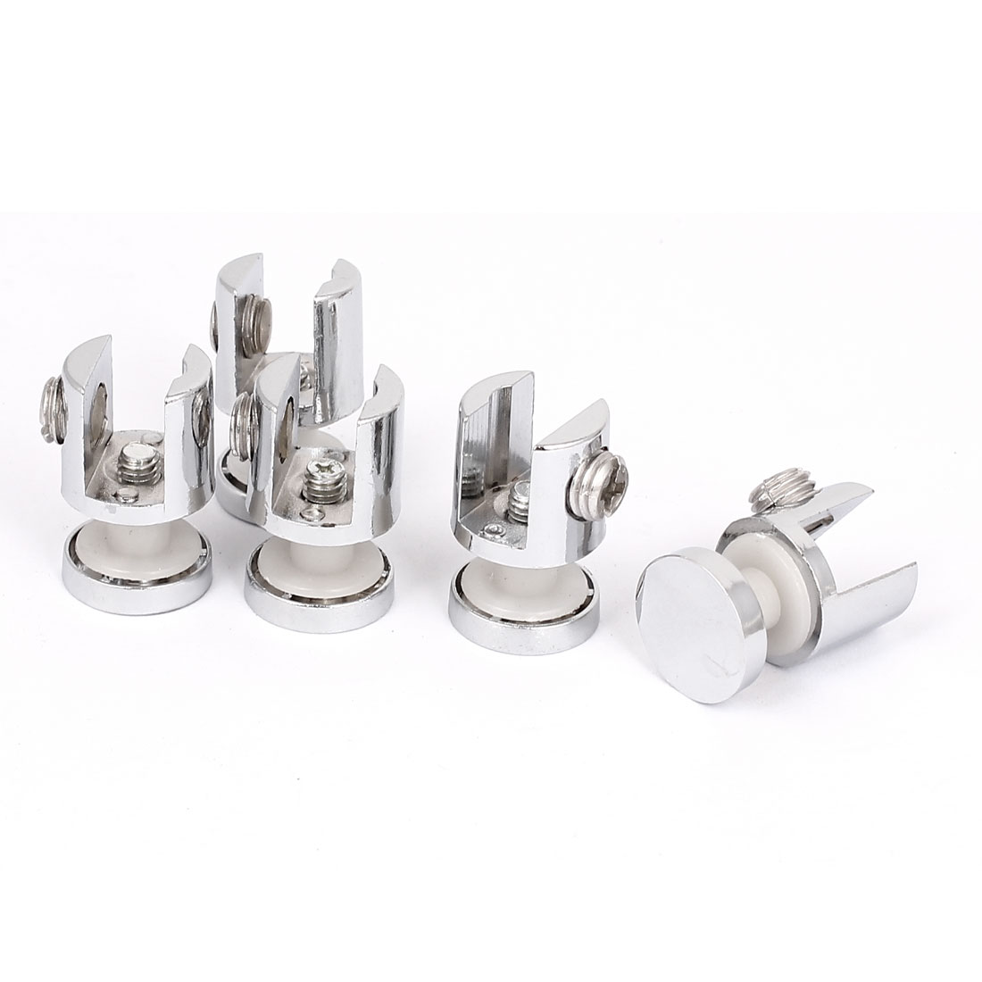 Zinc Alloy 10mm Thick Glass Shelf Board Clip Clamp Holder Support Bracket 5pcs