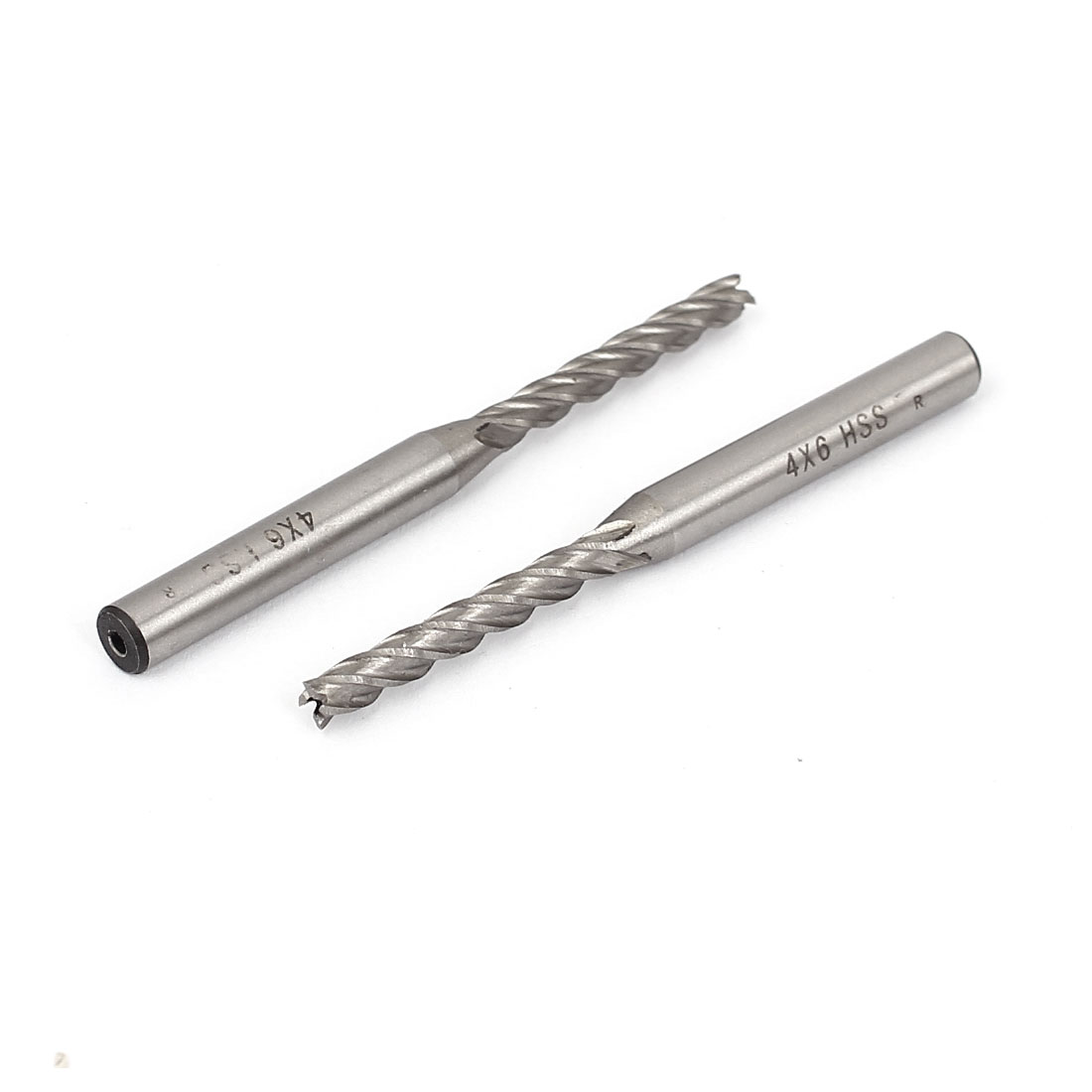 2pcs 4mmx6mm HSS 4 Flutes Straight Shank End Mill Cutter CNC Drill Bits