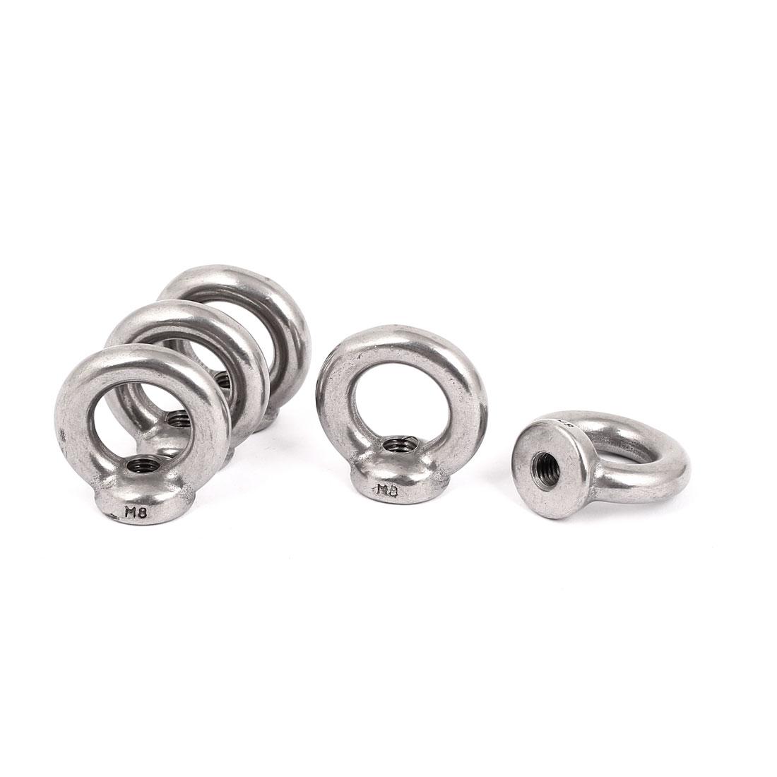 M8 Female Thread Marine Metal Lifting Eye Nuts Ring 5pcs
