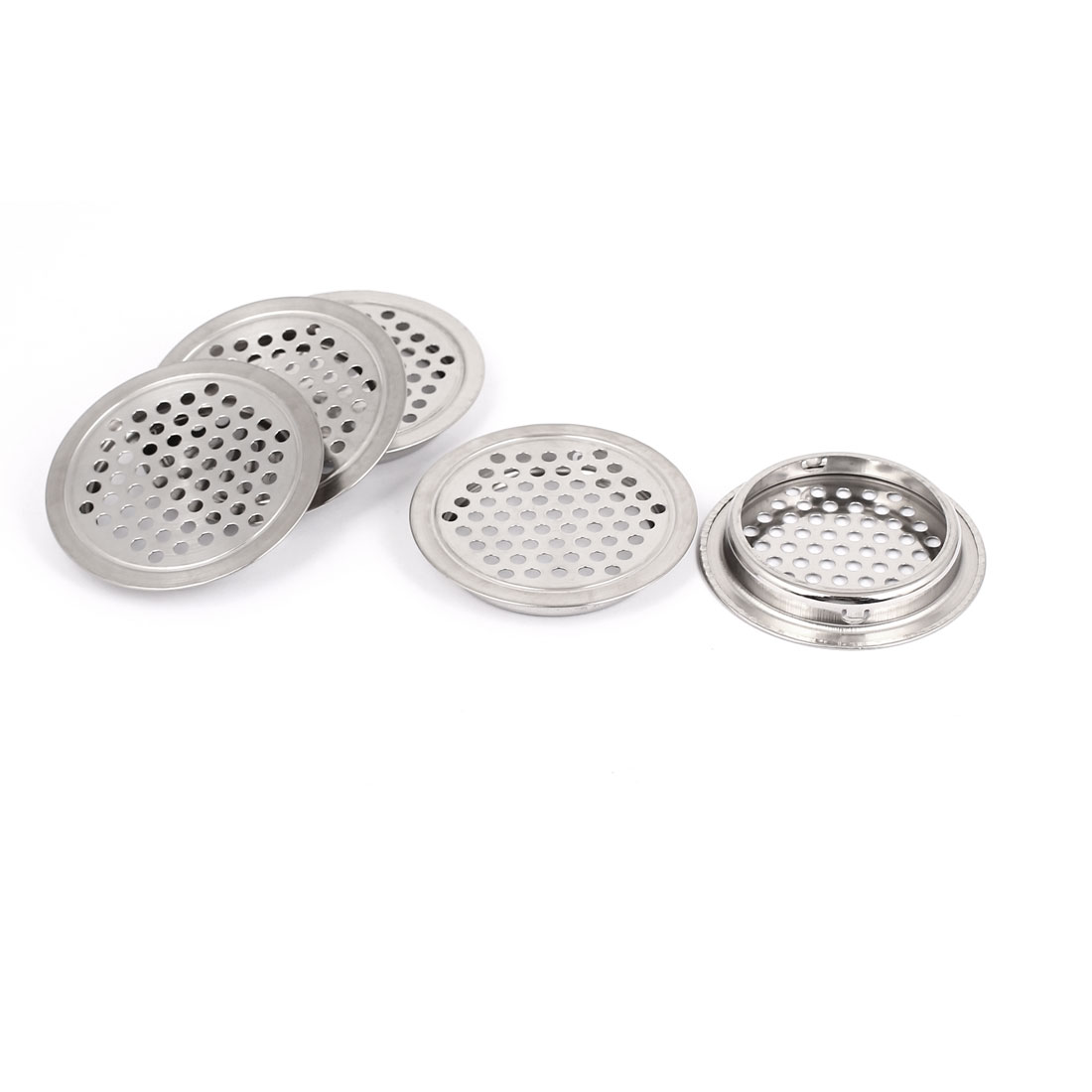 65mmx9mm Stainless Steel Perforated Round Mesh Air Vents Louvers 5 Pcs