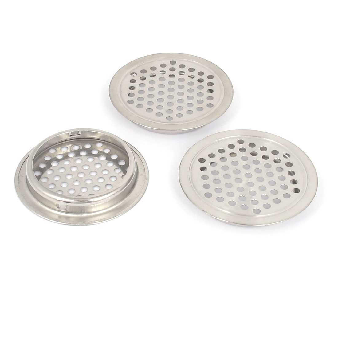 65mm Dia. Stainless Steel Round Mesh Hole Kitchen Cabinet Air Vents Louver 3pcs