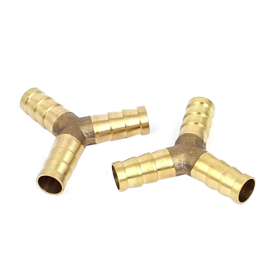 2 Pcs 8mm Brass Barbed Y Piece 3 Way Fuel Air Hose Pipe Tube Joiner Coupler
