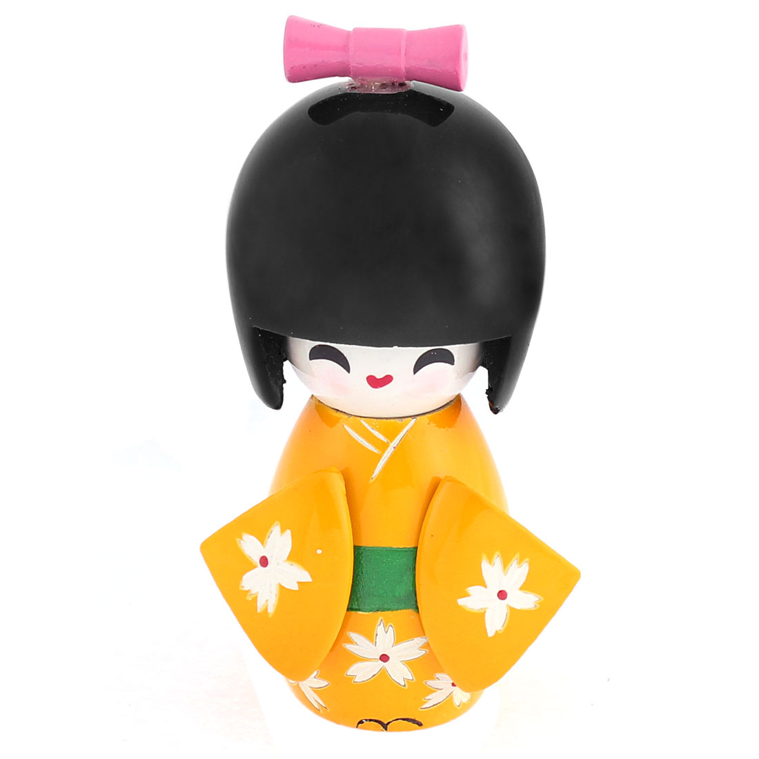 White Flower Carved Yellow Japanese Kimono Kokeshi Wooden Doll Desk Ornament