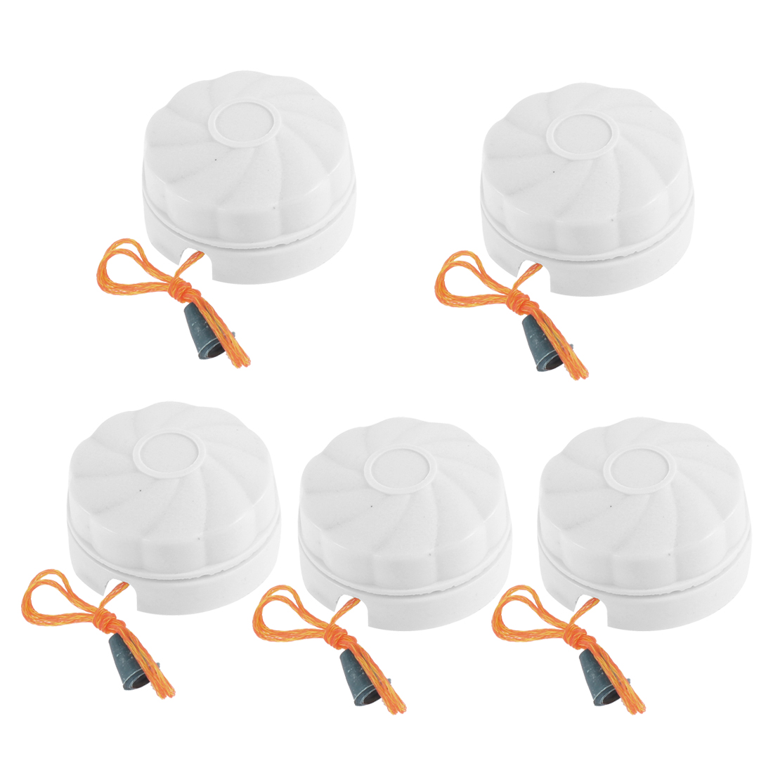 AC 250V 6A Round Shaped Bathroom Fan String Light Lamp Pull Cord Switch White 5 Pcs