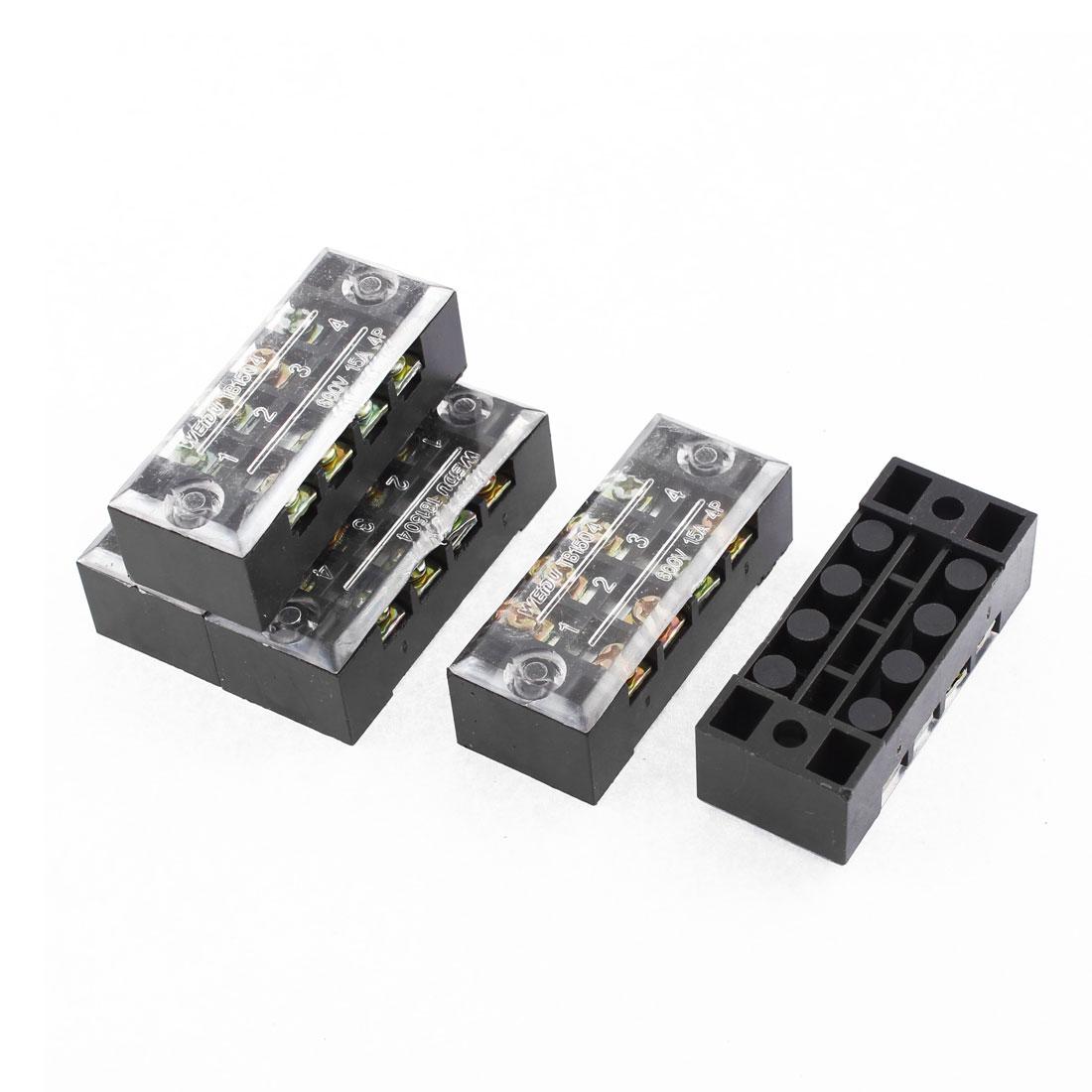 AC 600V 15A Dual Row 4P Screw Terminal Electric Barrier Strip Block 5 Pcs