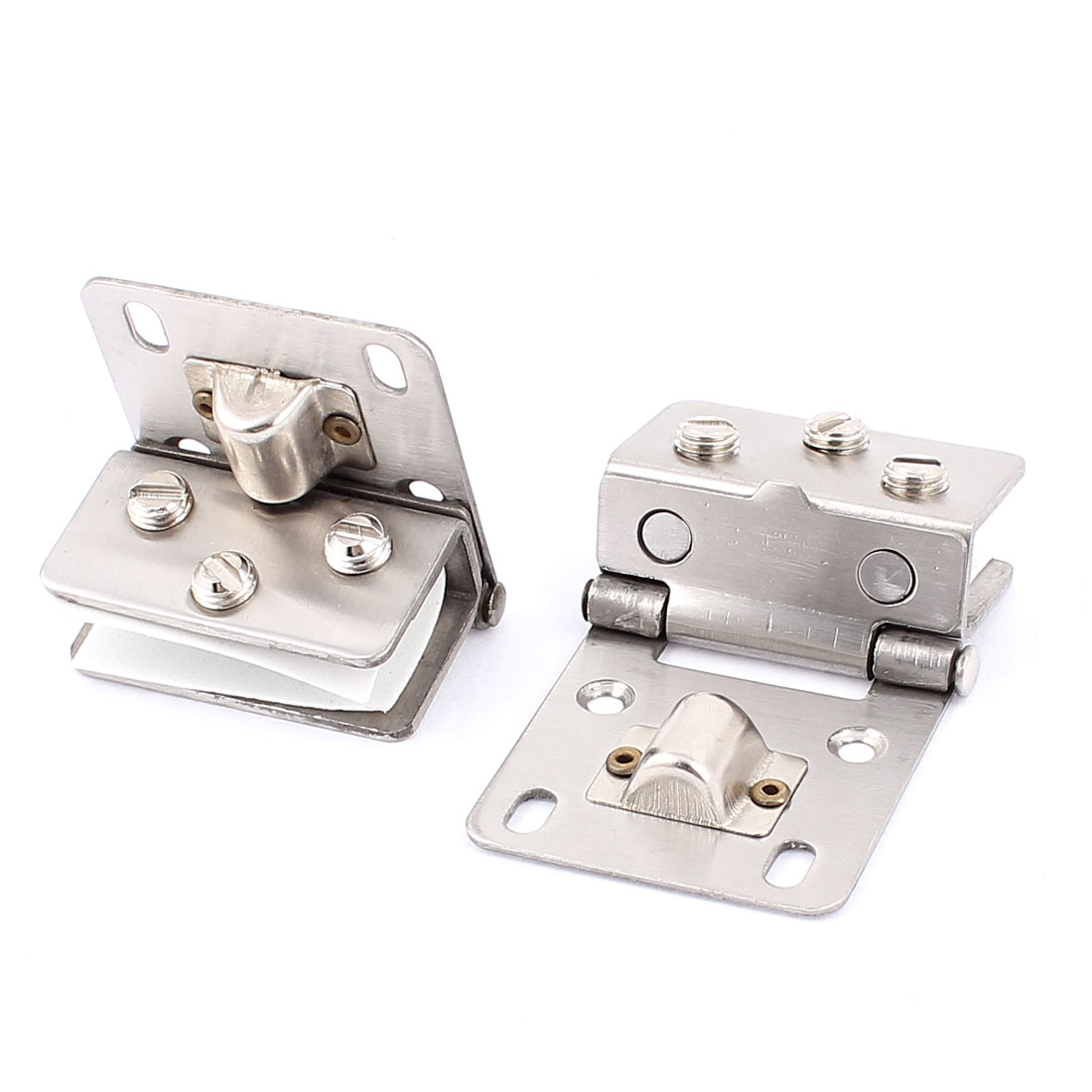 10mm Thickness Adjustable Metal Glass Door Hinges Silver Tone 2pcs