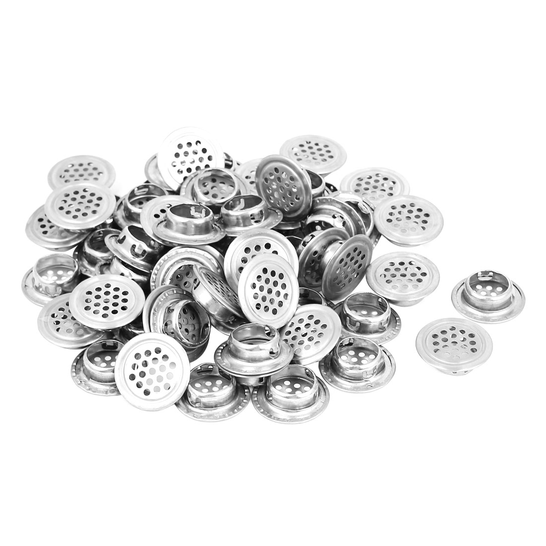 100pcs Metal 19mm Bottom Dia Perforated Round Mesh Air Vents Ventilation Louvers