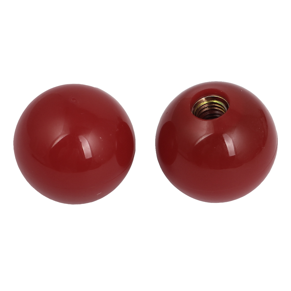 Machine Tool Handle M10 Thread Bore 38mm Diameter Red Plastic Ball Knobs 2 Pcs