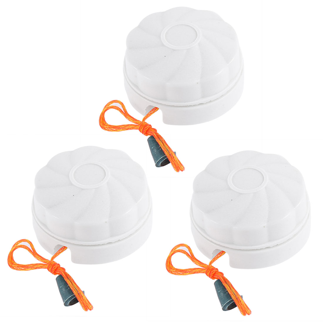 AC 250V 6A Round Shaped Bathroom Fan String Light Lamp Pull Cord Switch White 3 Pcs