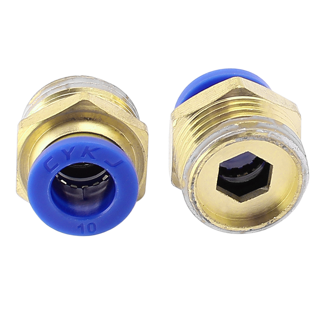 2 Pcs 10mm Tube to 1/2 BSP Thread Push in Quick Connect Coupler Fittings PC10-04