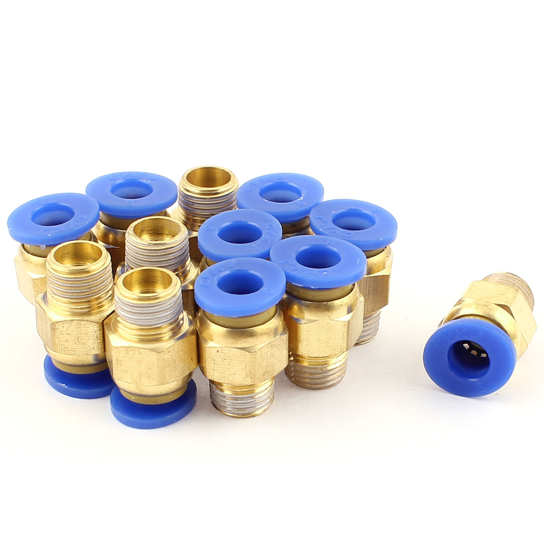 12 Pcs 6mm Tube to 1/8 BSP Thread Push in Quick Connect Coupler Fittings PC6-01