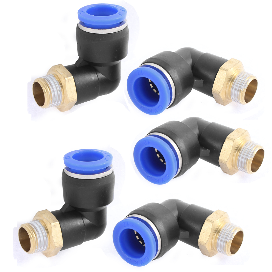 5 Pcs 1/4BSP Male to 12mm Tube Elbow Connectors Quick Connect Fittings PL12-02