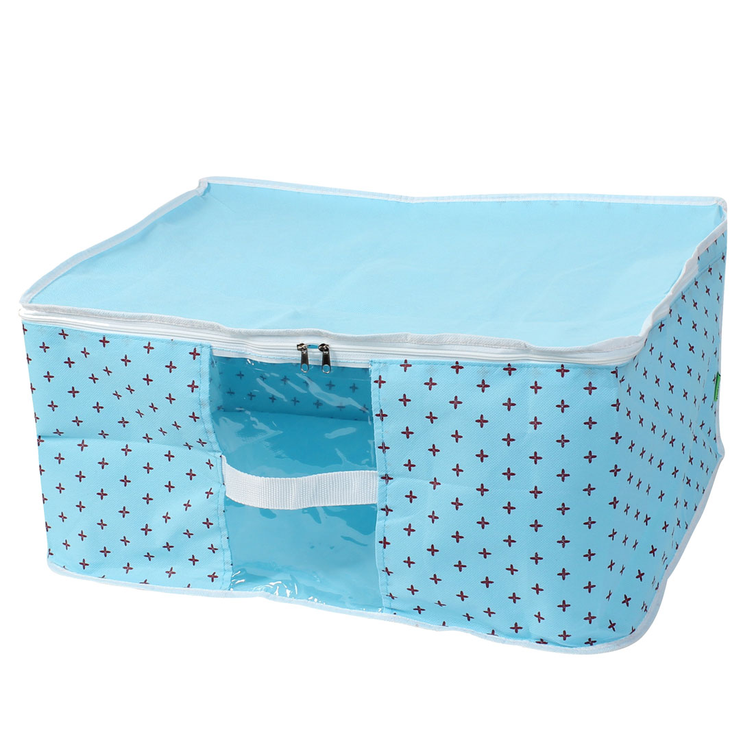 Non Woven Fabric Towel Carpet Clothing Organizer Storage Box Baby Blue 52cm Length