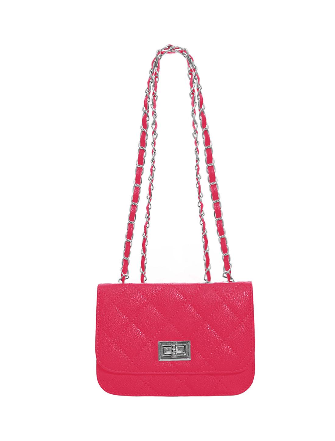 Women Turn-Lock Clasp Argyle Design Interior Zipper Pocket Shoulder Bag Fuchsia