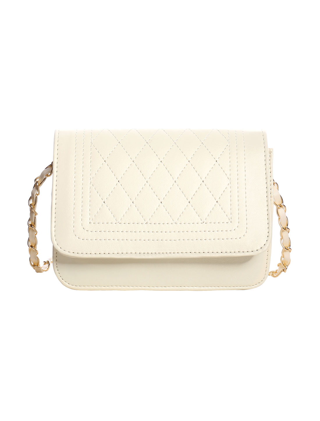 Woman Rhombus Quilted Dual Chain Strap Small Shoulder Bag Off White