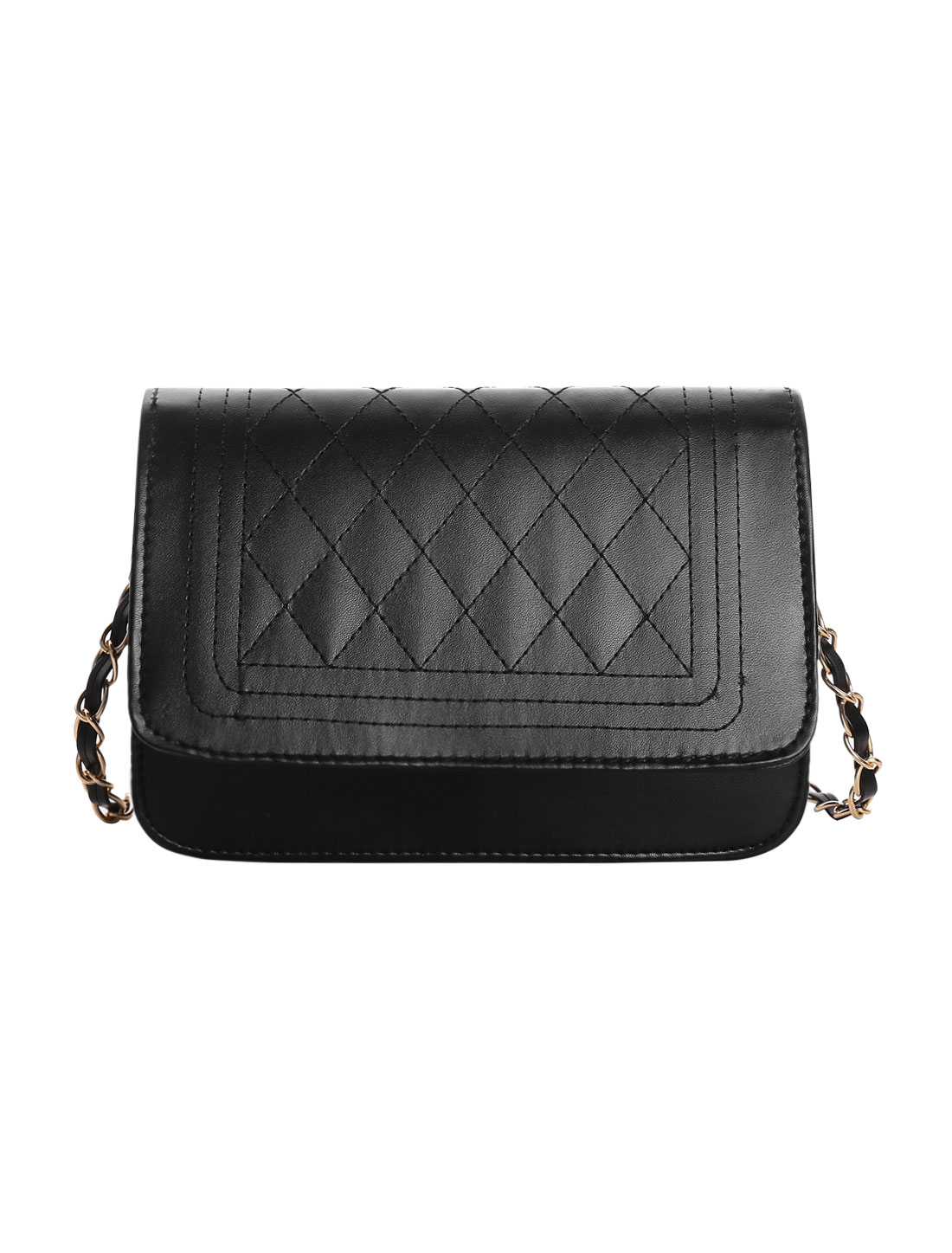 Woman Rhombus Quilted Magnetic Fap Closure Shoulder Bag Black