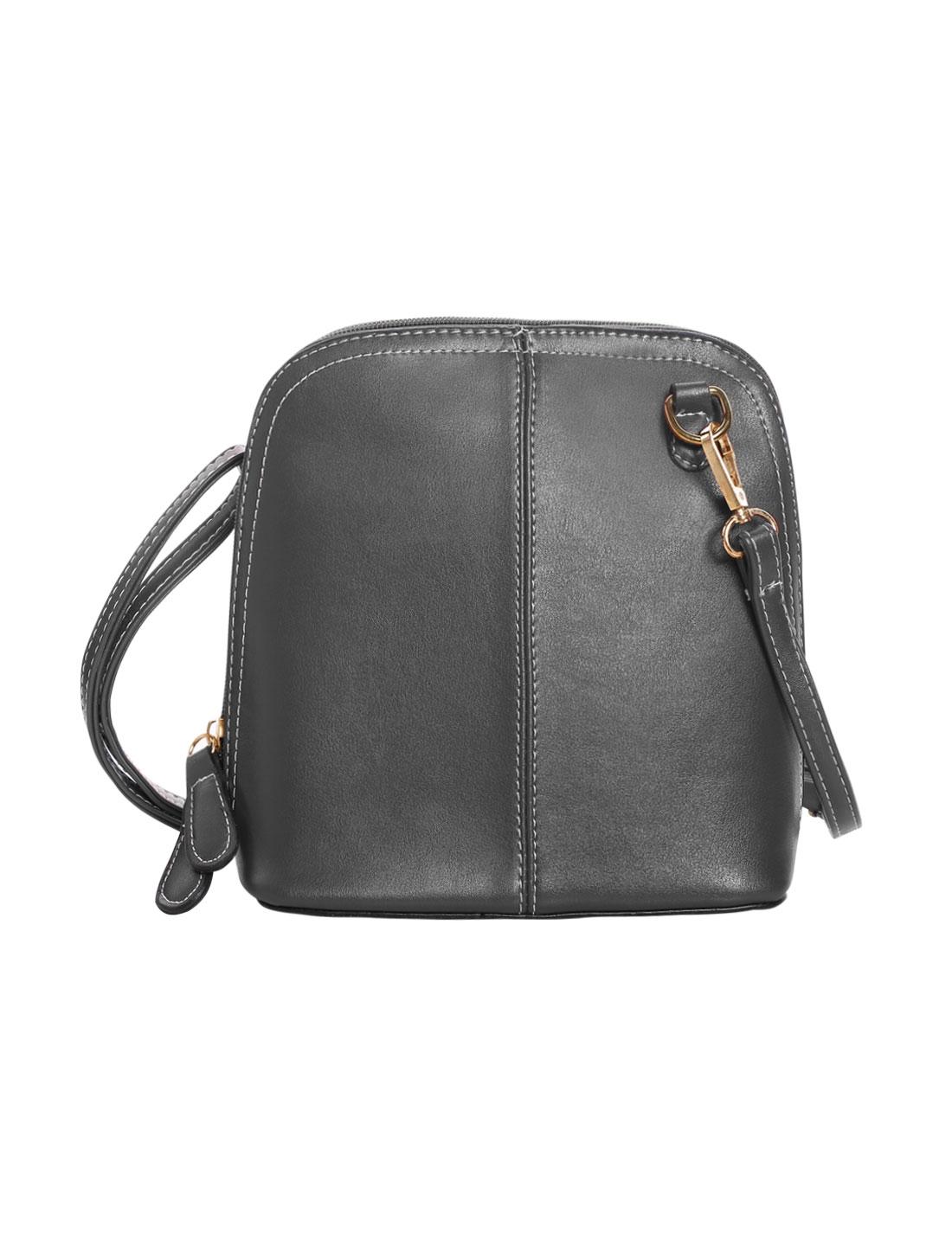 Woman Faux Leather Detachable Strap Zipper Shoulder Bag Gray
