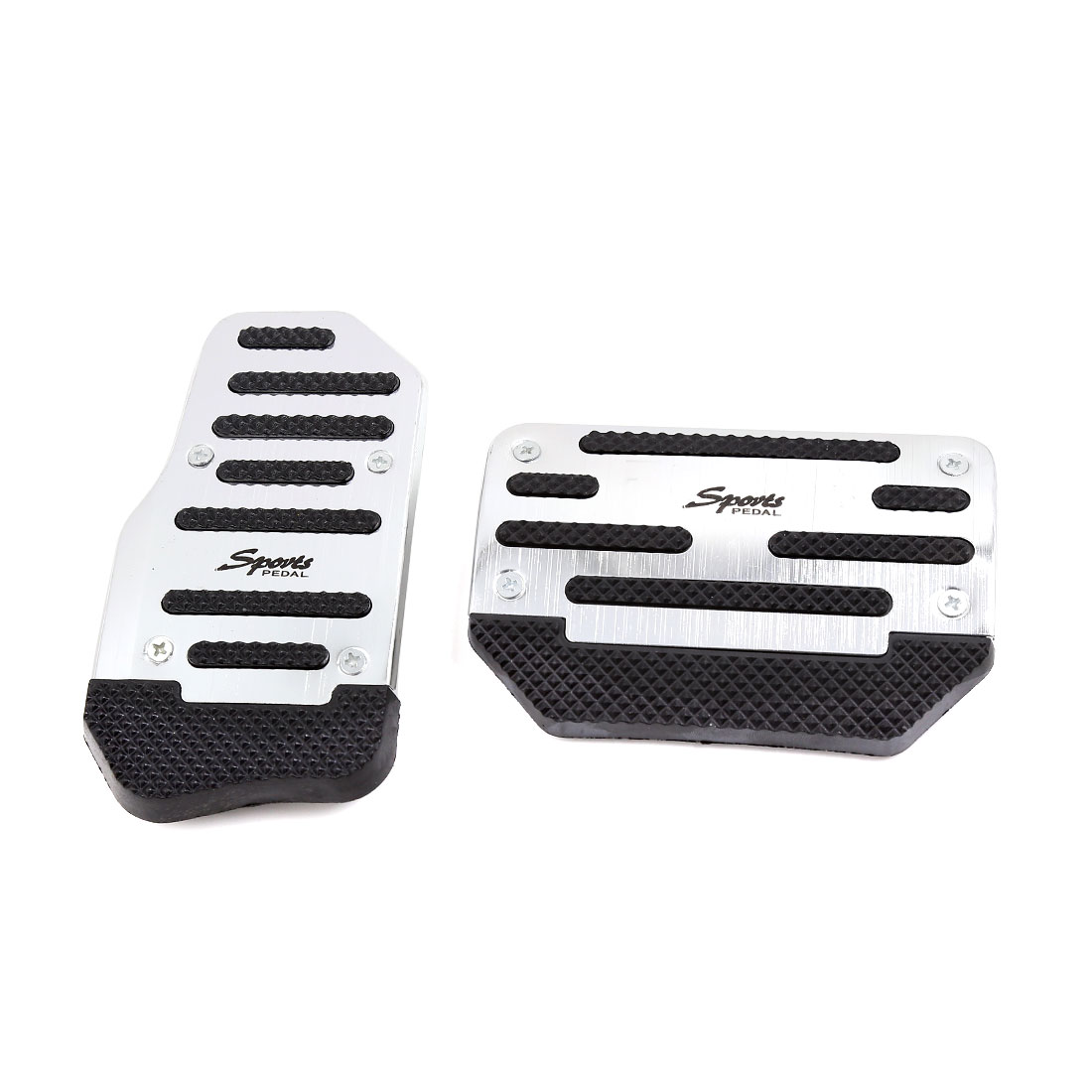 2 in 1 Black Sliver Tone Non-slip Gas Brake Pedal Cover Set for Auto Car