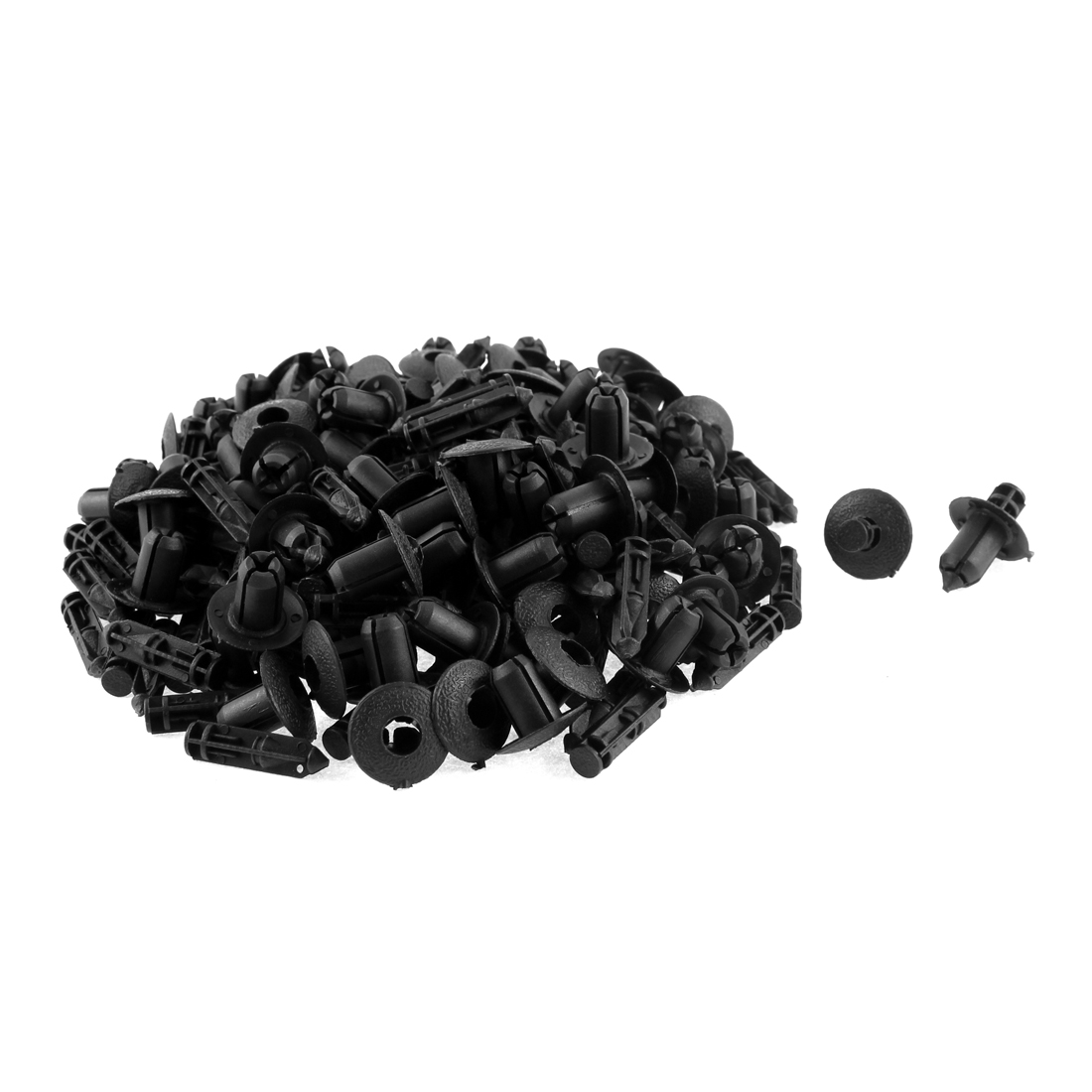 100 Pcs Black Plastic Push-Type Weatherstrip Rivet for 9mm Hole