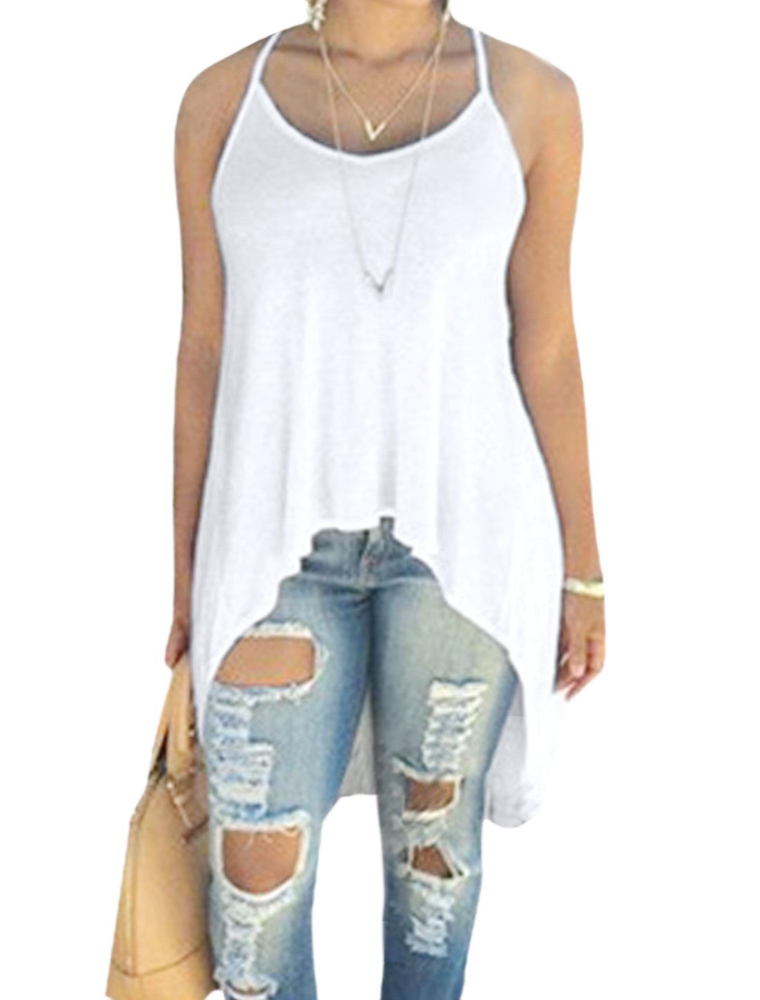 Women Open Back Asymmetric Hem Tunic Tank Top White M