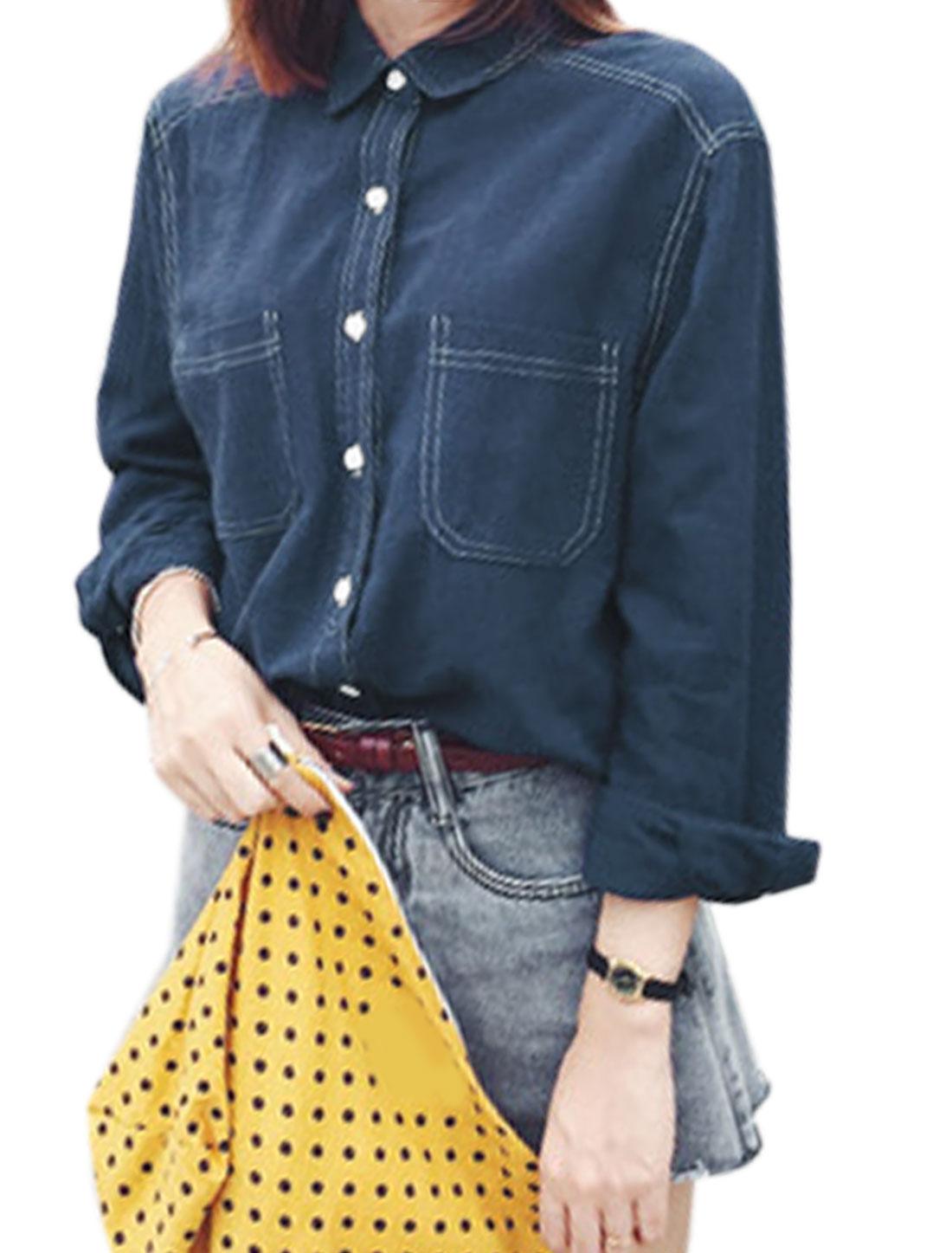 Woman Long Sleeves Button Closure Casual Shirt Dark Blue XS