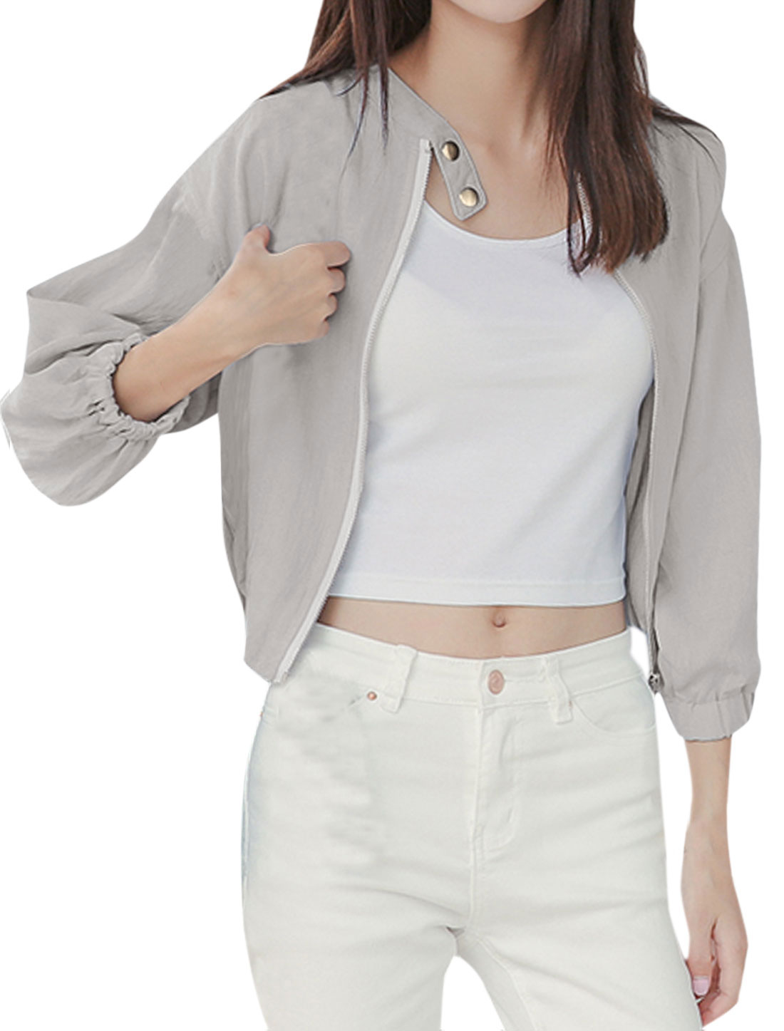 Women Stand Collar Zip Up Dolman Sleeve Basic Jacket Light Gray XS