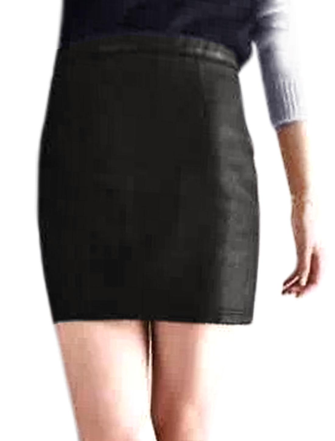 Woman High Waist Zip Closed Slim Fit PU Short Skirt Black M
