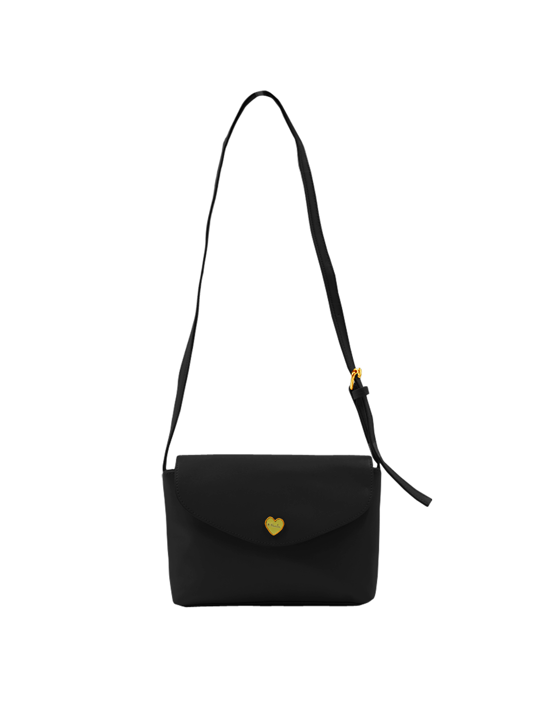 Woman Metalic Heart Decor Detail Mini Crossbody Shoulder Bag Black