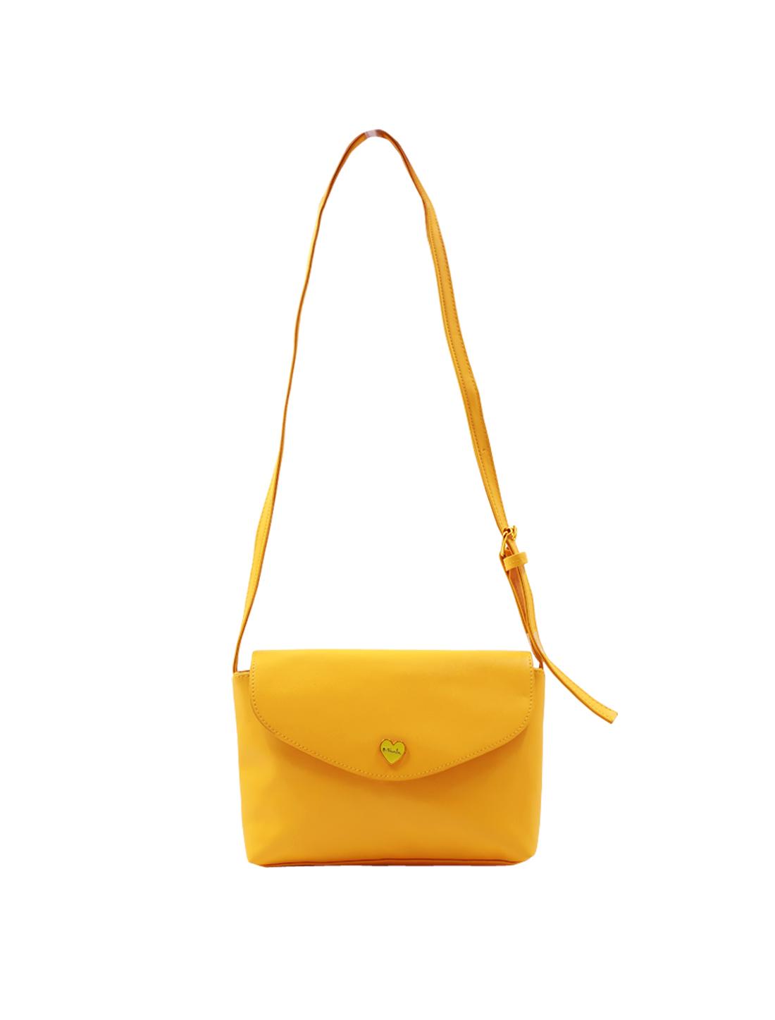Woman Metalic Heart Decor Imitation Leather Mini Crossbody Bag Yellow