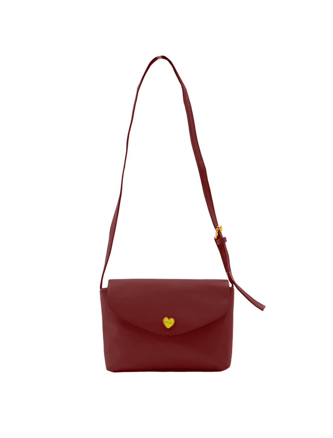 Lady Metalic Heart Embellished Imitation Leather Crossbody Bag Burgundy