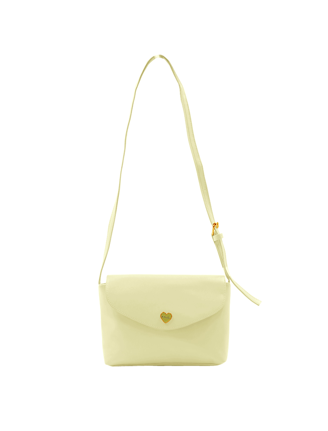 Woman Metalic Heart Decor Magnetic Flap Closure Crossbody Bag Beige