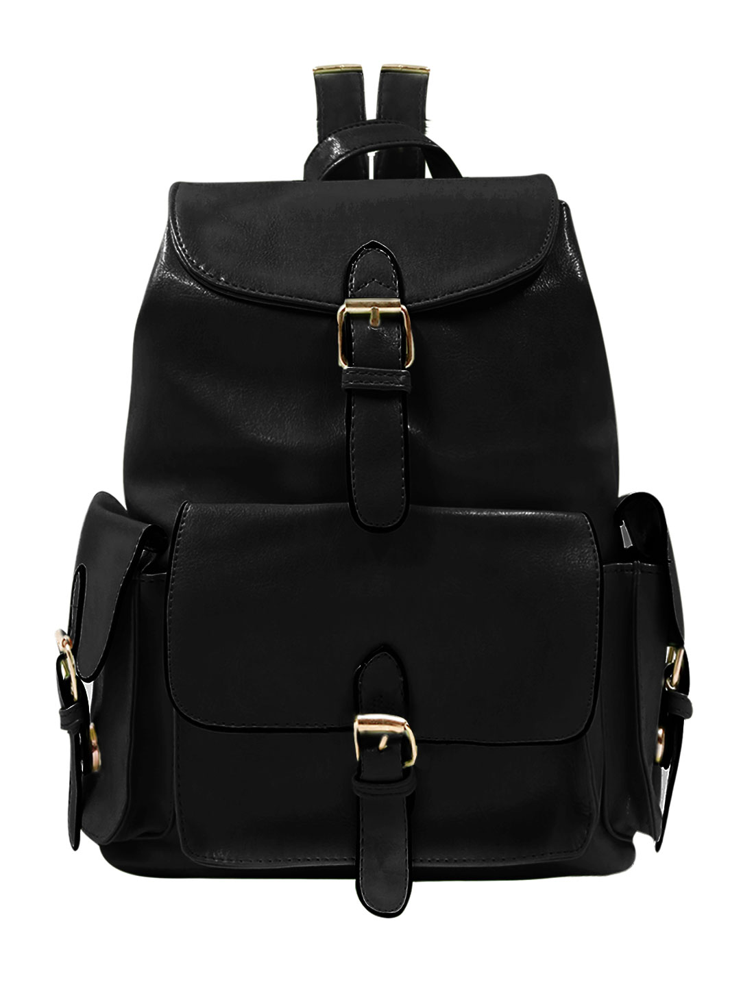 Woman Buckled Drawstring Functional Pockets Imitation Leather Backpack Black