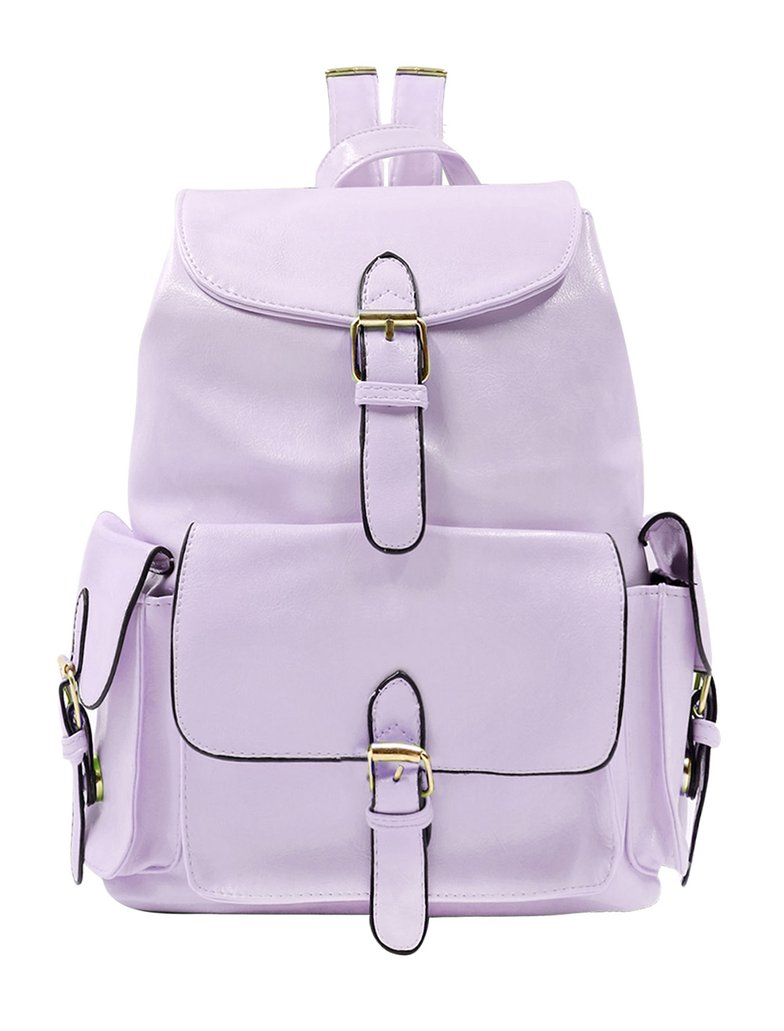 Lady Buckled Drawstring School Bag Imitation Leather Backpack Lilac