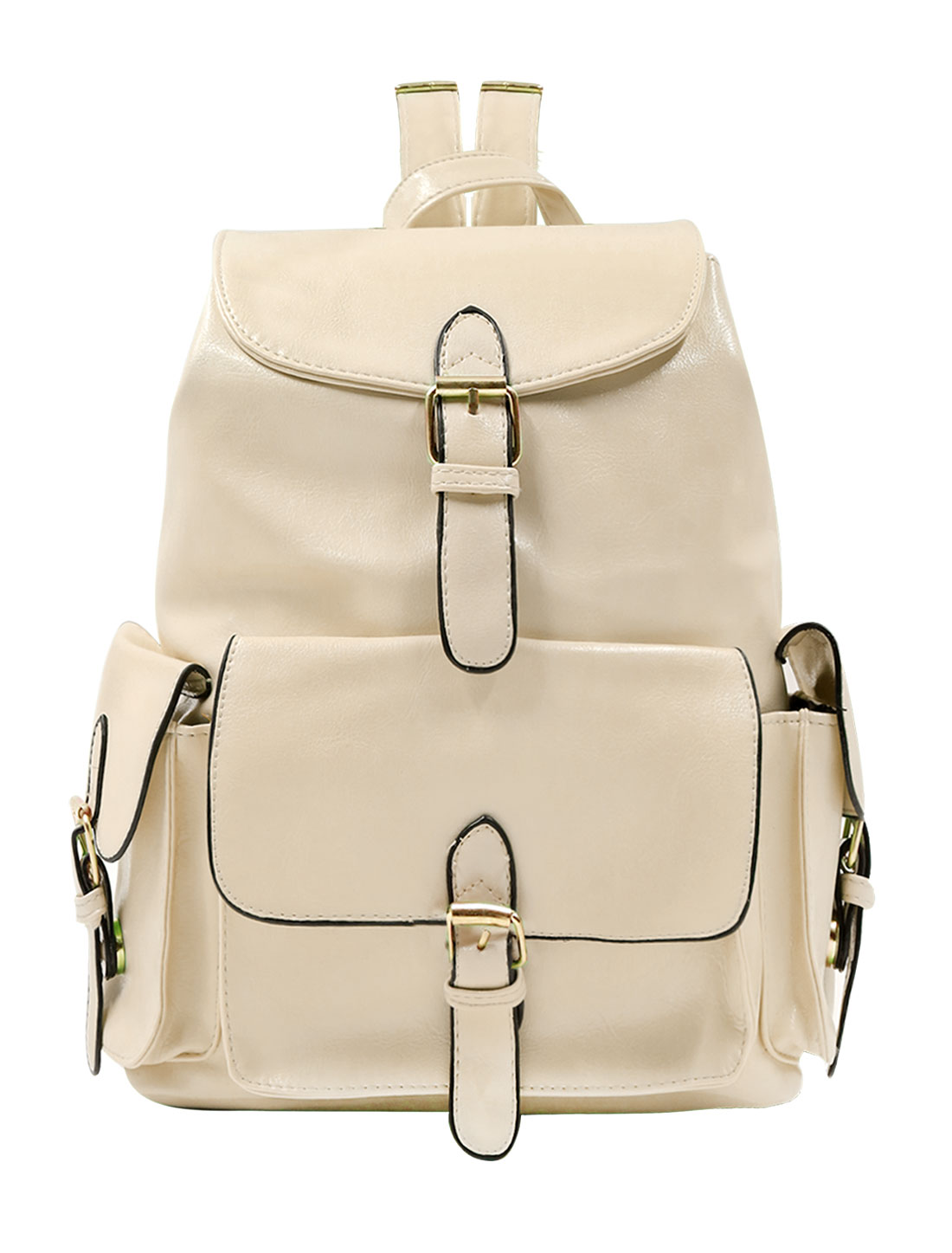 Woman Buckled Drawstring Flap-Top Imitation Leather Backpack Beige
