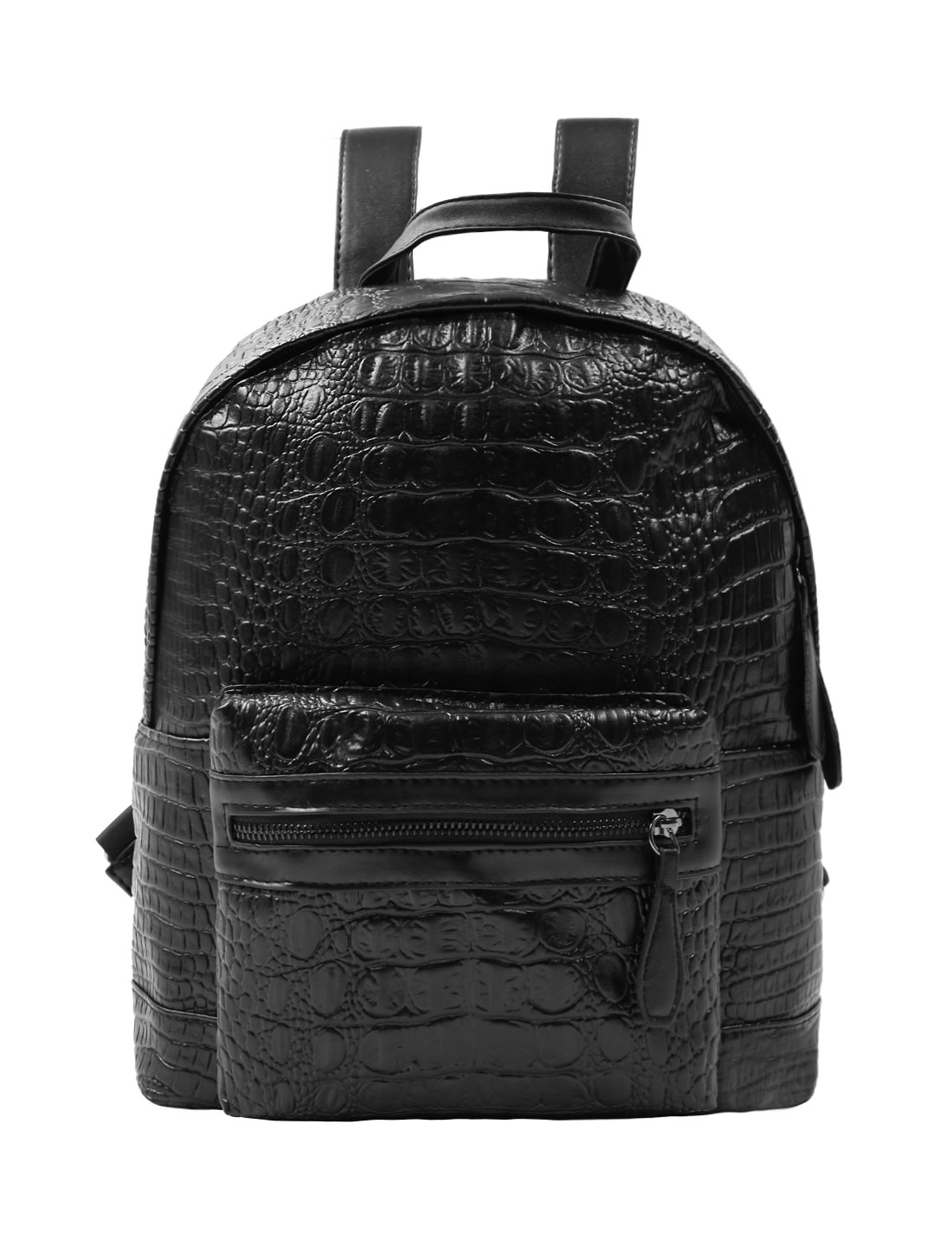 Woman Crocodile-Effect Textured School Back Imitation Leather Backpack Black