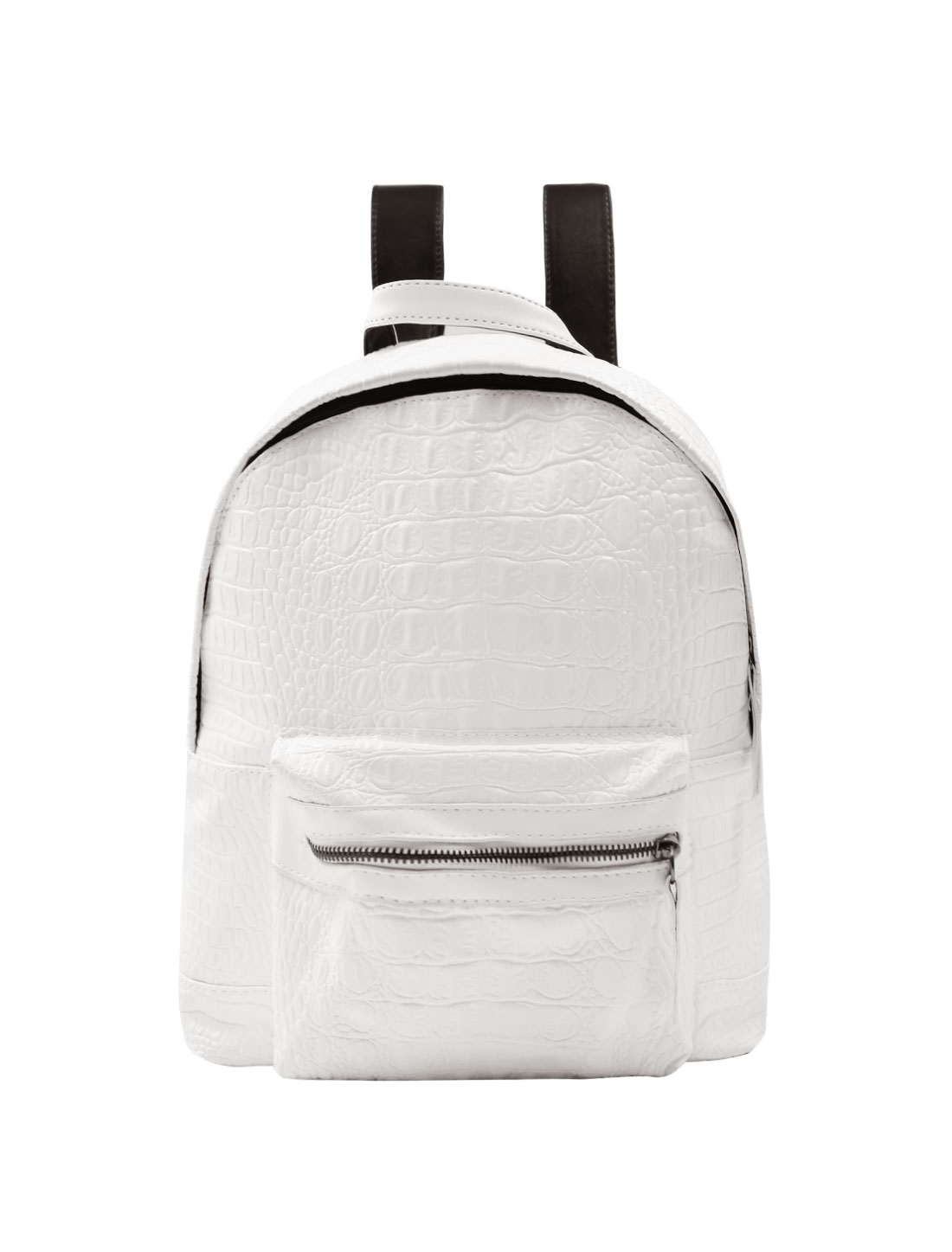 Woman Crocodile-Effect Textured Zip Closure Imitation Leather Backpack White