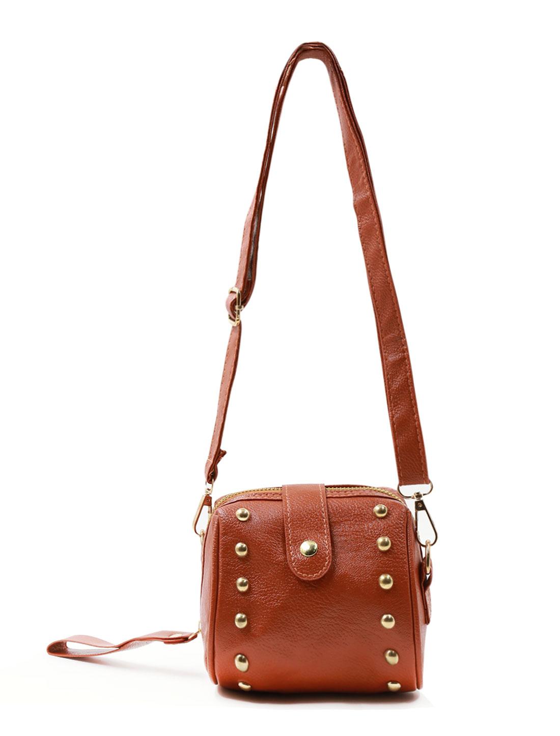 Ladies Rivets Decor Zipper Closure Fully Lined Casual Shoulder Bag Brown