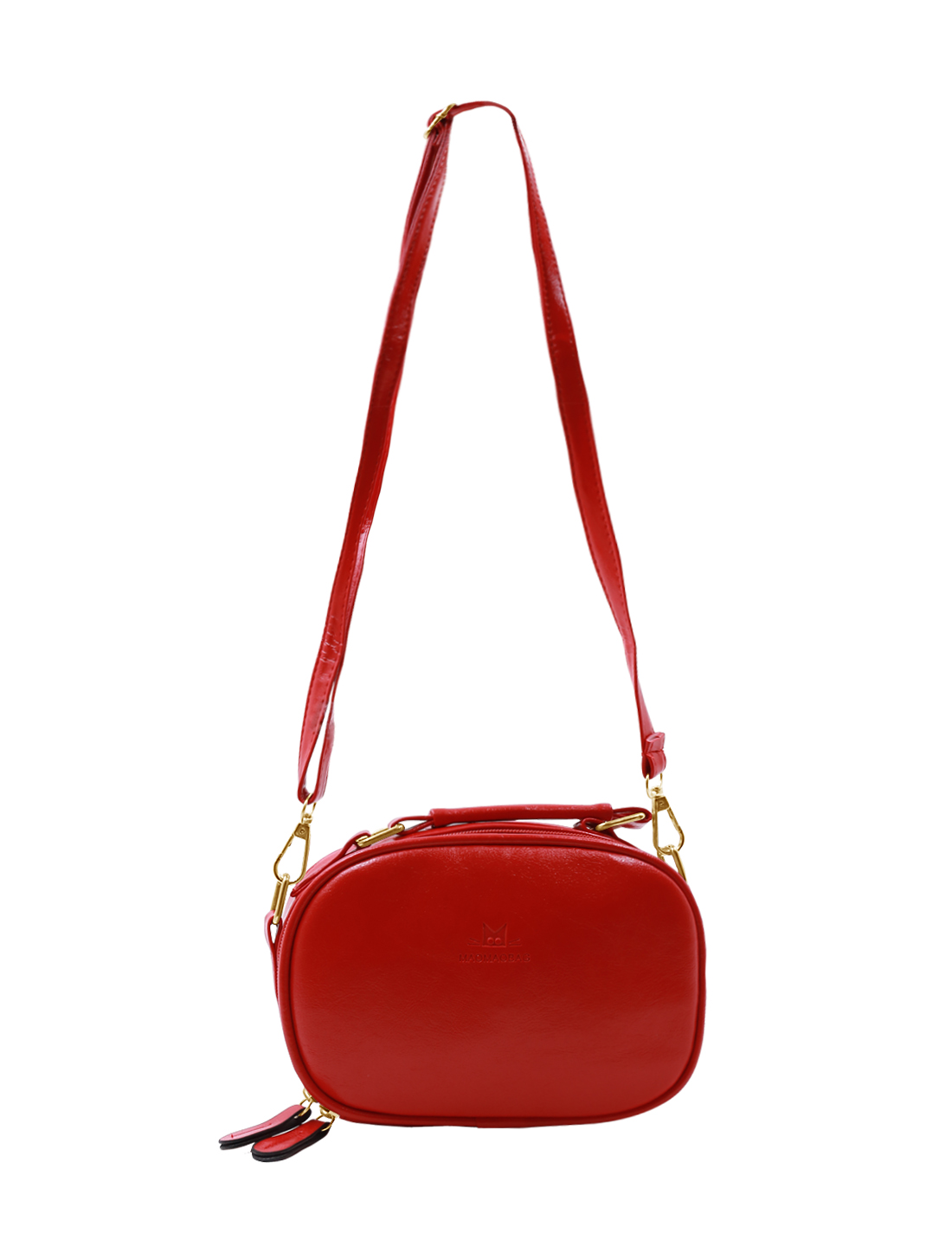 Woman Detachable Strap Zip Closed Imitation Leather Crossbody Bag Red