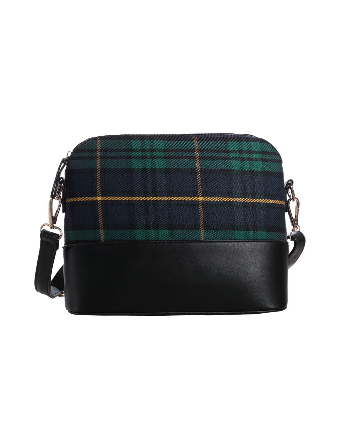 Women Contrast Color Checks Prints Zipper Closure Casual Shoulder Bag Green