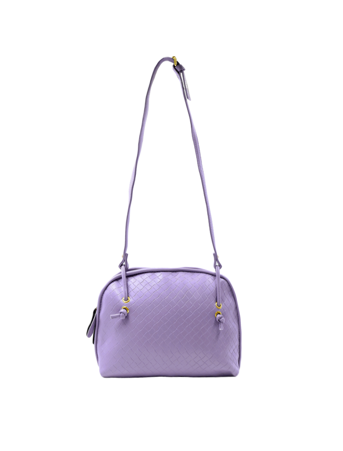 Woman Quilted Imitation Leather Zip Closure Crossbody Bag Lavender