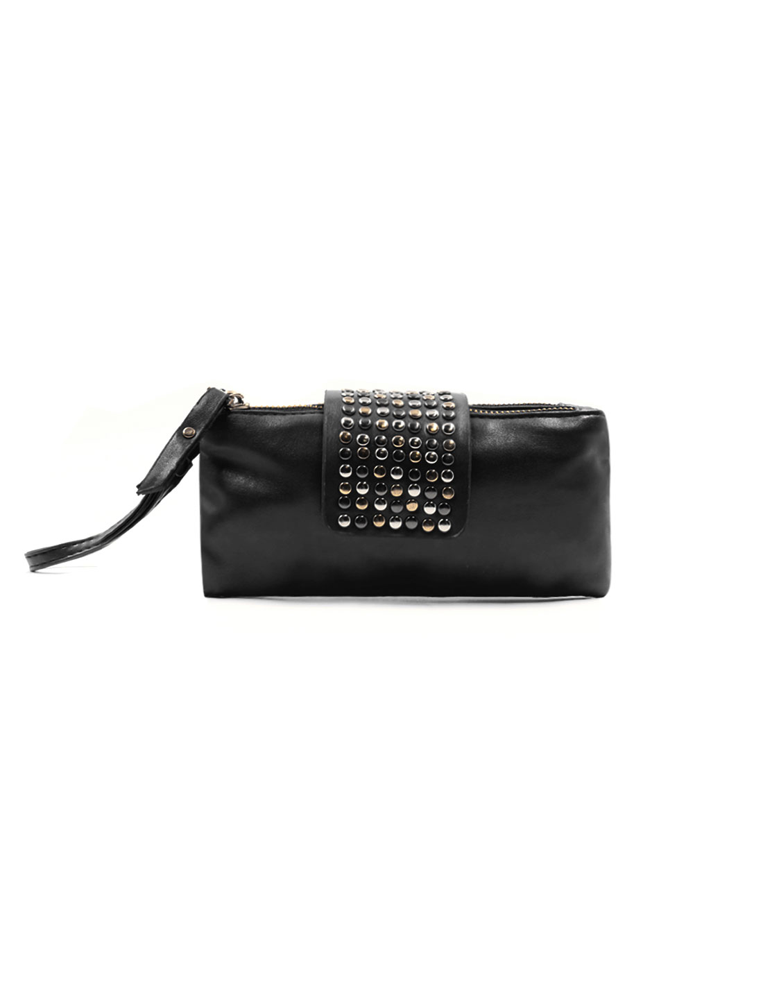 Lady Studs Embellished Magnetic Flap Closure Imitation Leather Clutch Black