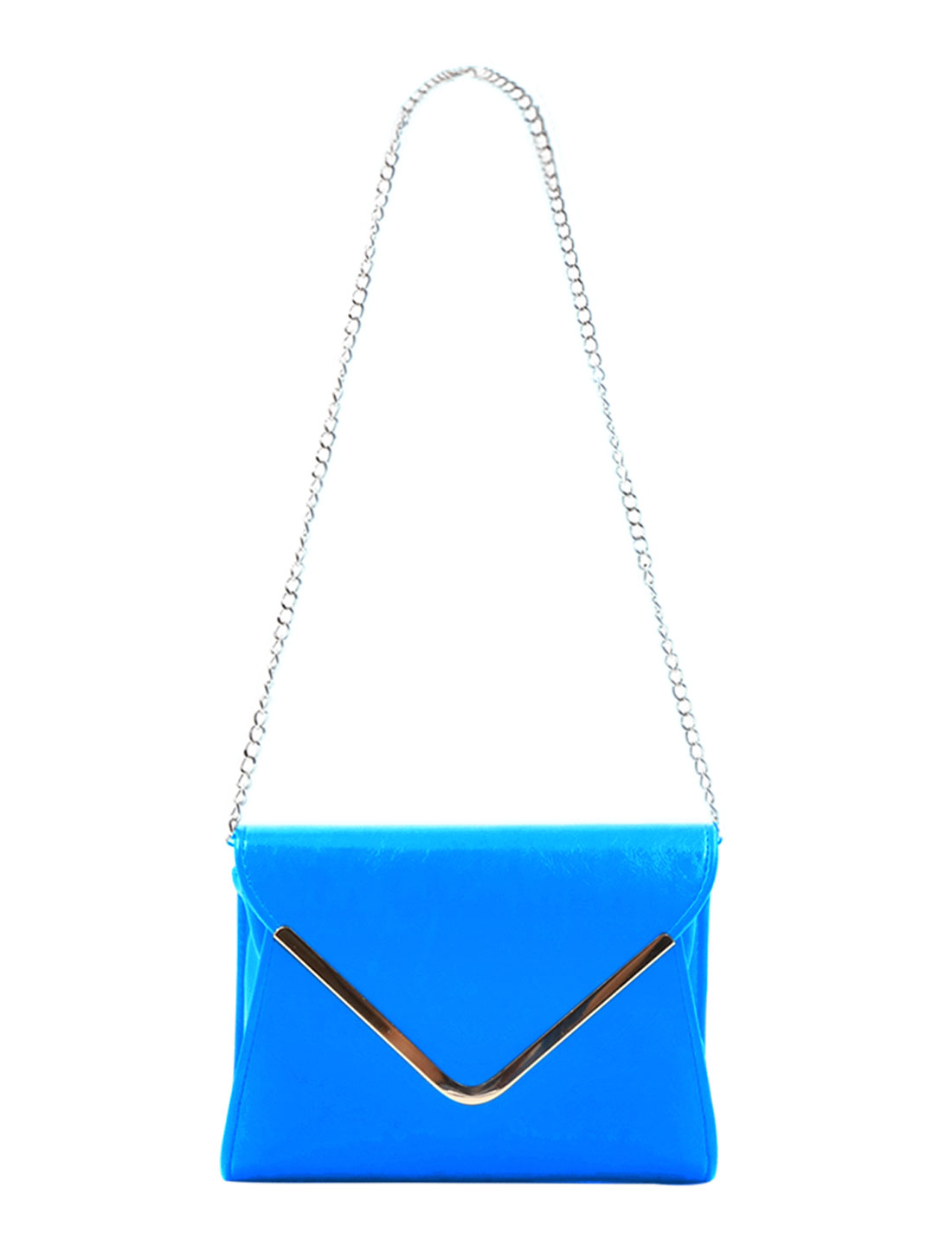Lady Metal Capped Edge PU Leahter Mini Crossbody Shoulder Bag Turquoise